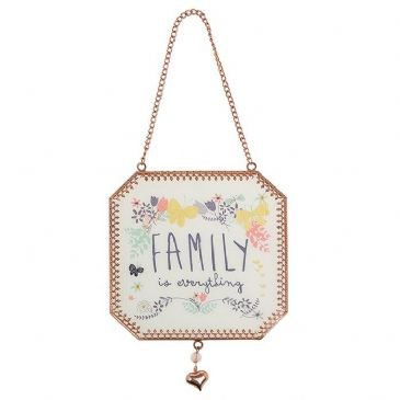 Family is Everything Tinted Rose Gold Transparent Hanging Sign Plaque